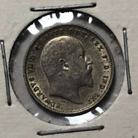 1902 Great Britain King Edward 3 Pence Silver Coin, XF/AU Condition