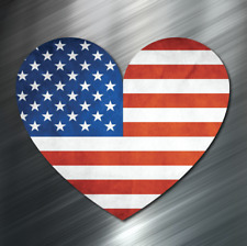 (1) American Flag Heart Vinyl Decal Sticker Car United States Love Usa Us New
