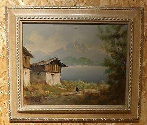 Quadro Olio su Tela - Lago di Montagna - 39x48