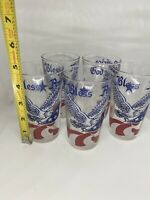 Lot 5 Vintage GOD BLESS AMERICA Drinking Glasses Eagles Stars Flags 4th Of July