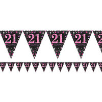 21st Birthday Pennant Flag Banner Black & Pink Party Decorations Age 21 Bunting