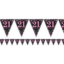 21st Cumpleaños Banderín bandera negro y Rosa Decoración Fiesta 21 AÑOS