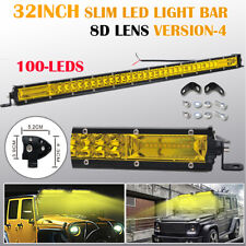Yellow 8D 32 INCH 300W SLIM LED Work Light Bar Spot Flood Offroad Truck 30/34""