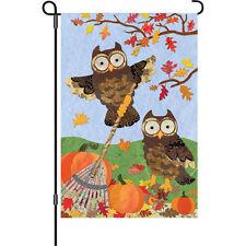 """Fall Autumn Owls Pumpkin Garden Flag Small 18"""" x 12"""""""
