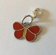 Red Butterfly Zip Charm Butterflies Handbag Bracelet Enamel Silver Zipper Gift