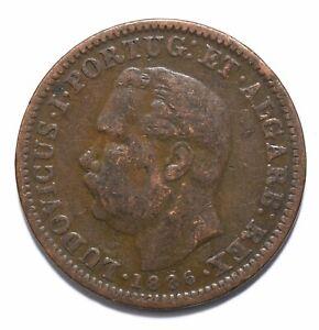 1886, India Portuguese, 1/4 Tanga, Luiz I, Copper, gF, KM# 308, Lot [489]
