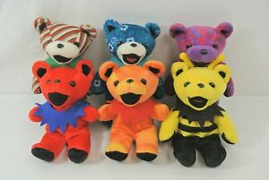 """Grateful Dead Bean Bear Lot of 6 No Tags Approx. 7"""" Tall Candy Striped Bumblebee"""