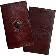 2nd's Quality Real Leather Handmade Embossed Journal Diary with Handmade Paper