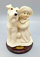 Giuseppe Armani Florence 1995 Porcelain Statue Young Girl Schnauzer Dog Italy