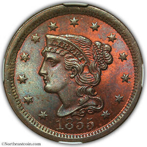 1855 Upright 55 Braided Hair Cent NGC MS65 RB