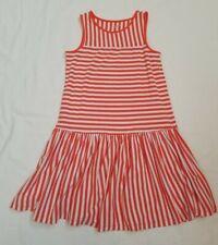 Lands' End Orange/White striped Sleeveless Soft Dress - Size 7-8