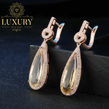 Luxury Natural Citrine 14K Rose Gold Plated 925 Sterling Silver Drop Earrings
