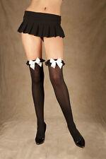 Opaque nylon thigh hi w/ chiffon ruffle & satin bow O/S 8 10 12 Black White B/W