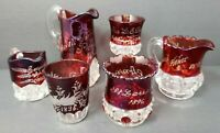 EAPG Ruby Red Flashed Engraved Souvenir Glass Lot 1896 thru 1910