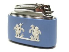 Vintage Wedgewood Table Lighter Light Blue With Chrome Top