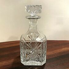 Block Crystal Decanter Liquor Dispenser Bottle Glass Stopper Vintage