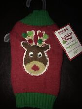 New listing Nwt Simply Dog Holiday Time Sweater Red & Green Rudolph Pom Christmas Xxs Puppy