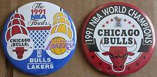"""Lot of 2 1991 Chicago Bulls NBA World Champions Finals 3 3/8"""" Pins LA Lakers"""