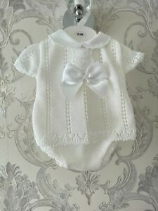 NEW BABY OCCASION OUTFIT WHITE SPANISH STYLE FINE KNIT ROMPER 2 PCS SET 0-9 M