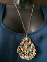 Antique Silver Turquoise Necklace Middle Eastern Ethnic