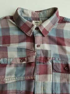Vans Tailored Fit Shirt Long Sleeve in Grey Burgundy Check Cotton Mix  *M* TR49