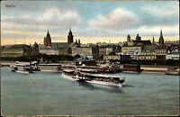 Mainz AK 1911 Stadtansicht Fluß Rhein Schiffe Anlegestelle am Rhein-Hafen color