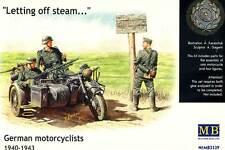 MasterBox 4 Soldaten mit Motorrad BMW R75 Ostfront Pause 1:35 Modell-Bausatz kit