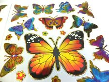 BUTTERFLY STICKERS x 2 sheets; bright colours, metallic *fun & colourful*
