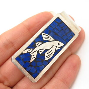 925 Sterling Silver Vintage Mexico Lapis Lazuli Inlay Fish Design Money Clip