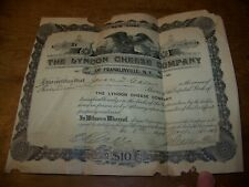 1915 Antique Lyndon Cheese Co Franklinville Ny Stock Certificate Scripophily