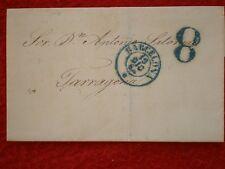 SOBRE BARCELONA A TARRAGONA 1854  PORTEO 8 POR FALTA DE FRANQUEO RARO