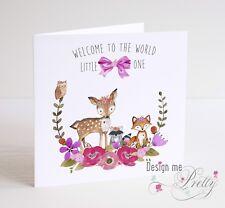 NEW BABY GIRL CARD Cute Woodland Animals - Birth Granddaughter Sister Niece