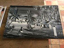 peinture huile sur toile paysage village africain signee S VAO annees 60