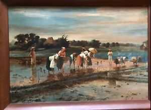 Rice Workers Planting after Fabian De la Rosa - Filipino Painting / Philippines
