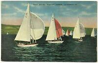 Sailboat Yacht Racing Newport Harbor California CA Vintage Linen Postcard