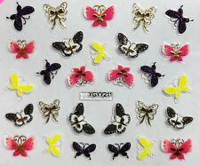Nail Art 3D Decal Stickers Butterflies Black & White, Yellow, Pink YGYY211
