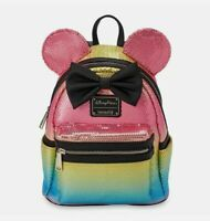 New Disney Parks Loungefly Minnie Mouse Pastel Rainbow Sequined Mini Backpack