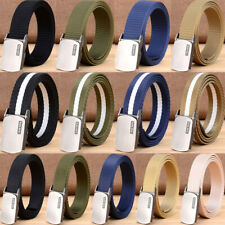 "1.5"" Mens Nylon Web Belts 45"" Long Sports Outdoor Trousers Belt Automatic Buckle"