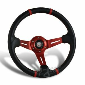 350MM Deep Dish Drift Style Red Stitch Carbon PVC Leather 6 Hole Steering Wheel