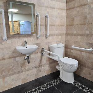 Doc M Pack Disabled Bathroom Suite Basin Sink Tap Toilet Seat Grab Rails