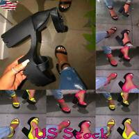 Women Ladies Peep Toe Chunky Heel Ankle Strap High Heels Sandals Party Shoes UK