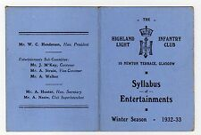 HIGHLAND LIGHT INFANTRY CLUB: 1932-33 Syllabus of Entertainments (C12086)