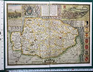 Old Antique Tudor map Norfolk, Norwich, England: John Speed 1600's Reprint
