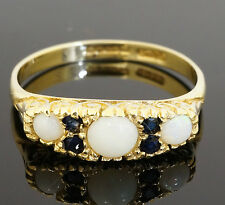 Vintage 9Carat Yellow Gold Opal & Sapphire Cluster Eternity Ring (Size P)