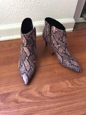 Mango Faux Snake Skin Pointy Toe Boots