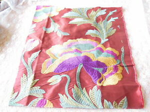 Manuel Canovas Embroidered Silk Floral Fabric Sample/Remnant - Nimes
