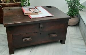 Antique wooden writing desk handmade table with drawer storage box indian decor