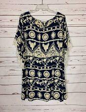 Umgee USA Boutique Women's XL Extra Large Navy Lace Boho 3/4 Sleeves Fall Dress