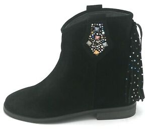 Alma en Pena I19227 Ankle Boot Leather Black Accessories Embroidery Tassels