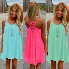 Fashion Women Spaghetti Strap Back Howllow Out Summer Chiffon Beach Short Dress